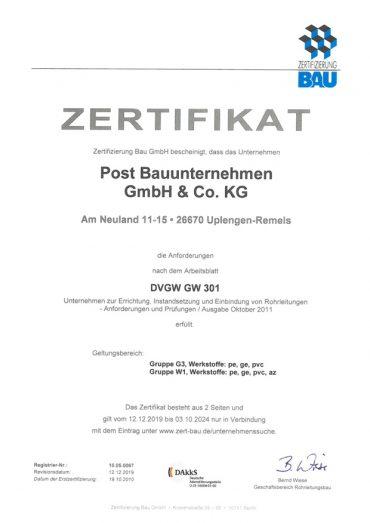 Zertifikat GW 301 inkl. W1