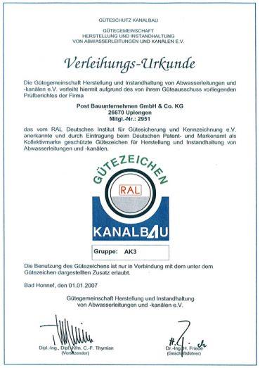 Zertifikat Kanalbau AK3